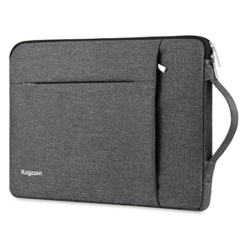 Kogzzen 14-15.6 Inch Laptop Sleeve Waterproof Shockproof Case Notebook Bag Compatible with MacBook Pro 15'/ Surface Book 2 15', Ultrabook Chromebook Dell HP Lenovo Asus Acer Samsung - Gray