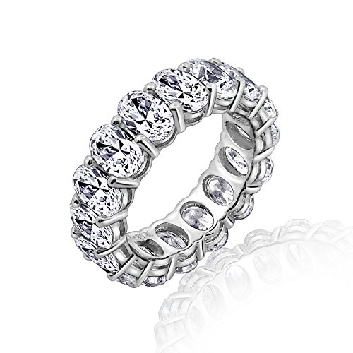 DIAMONBLISS Platinum Clad Cubic Zirconia 100-Facet Oval Eternity Band Ring, Size 6