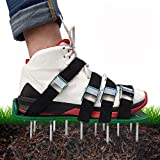 shsyue Lawn Aerator Shoes, 4 Adjustable Straps Universal Size ,4 Aluminum Alloy Buckles Spiked Aerating Lawn Sandals, 26 Nails for Aerating Your Lawn or Yard
