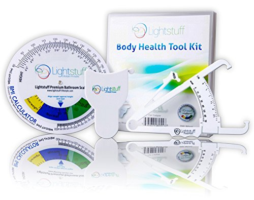 Body Fat Caliper, Body Tape Measure, BMI Calculator - Instructions for Skinfold Caliper and Body Fat Charts for Men and Women Included: Lightstuff Body Health Tool Kit