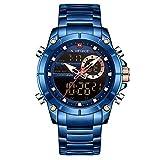 NAVIFORCE Reloj Deportivo Digital para Hombre Relojes Militares de Acero Inoxidable de Cuarzo Impermeable Multifuncional