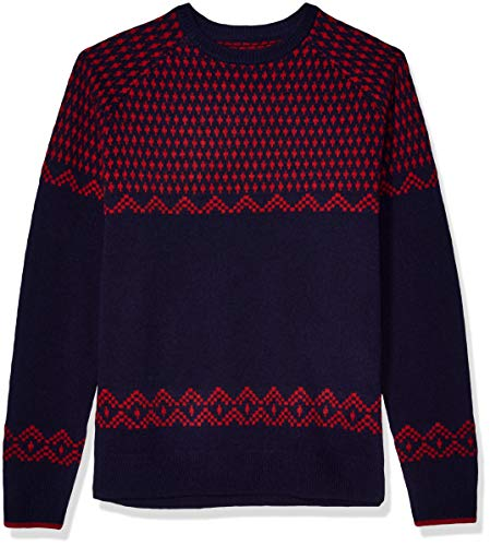 Amazon Brand - Goodthreads Men's Lambswool Stripe Crewneck Sweater, Navy Red X-Large