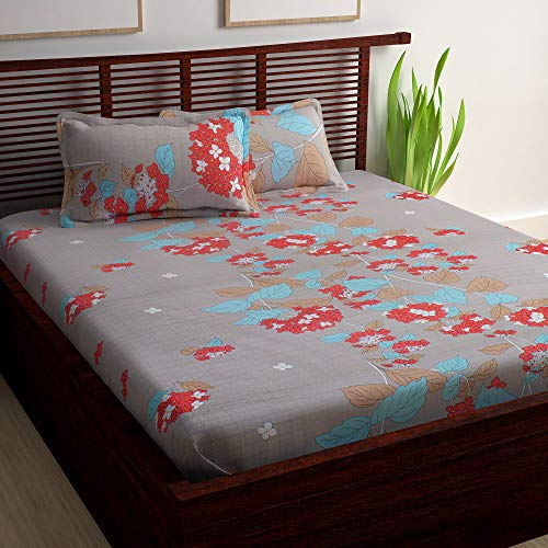 Story@Home Floral Print 100% Combed Cotton Style Double/Queen Size Bed Bedsheet Set Bedspread with 2 Pillow Covers, Grey and Red
