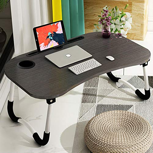 Astory Laptop Desk, Portable Laptop Bed Tray Table Notebook Stand Reading Holder with Foldable Legs & Cup Slot for Eating, Reading, Watching Movie on Bed/Couch/Sofa (Black)