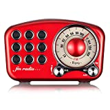 Wireless Stereo Retro Speaker with FM Radio, Dosmix Portable Bluetooth Vintage Speaker with Built-in Mic, USB, SC Card Slot, Aux for Kitchen Bedrooms Party Travel Outdoor Android iOS Devices, Red