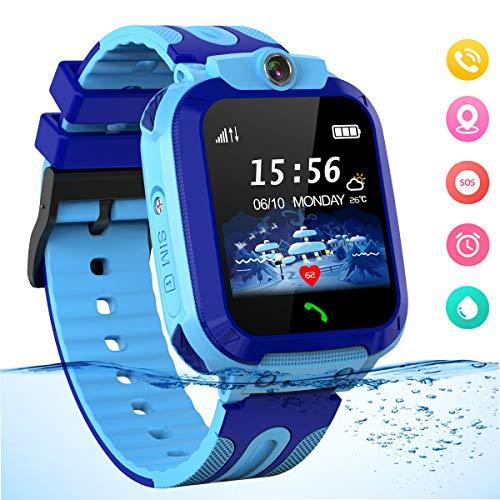 Smartwatch für Kinder Waterproof Telefon Uhr Kinder mit LBS Tracker Kids SmartWatch für 3-12ans Junge Mädchen Geschenk, Blau