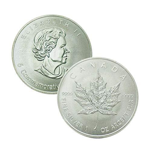 LJIE Moneda Conmemorativa de Monedas de Arce de Canadá Federal de Monedas Reina Antigua del Regalo de la Moneda Collection, Plateado 40MM