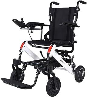 Wheelchair Silla de Ruedas eléctrica Ligera Asistente de Movilidad de Aluminio Plegable Inteligente Silla eléctrica con Frenos de Mano, batería de Litio 10Ah