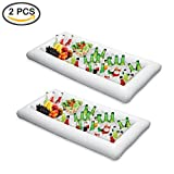 ShineMe Table Cooler Coolers for Drinks, Inflatable Buffet Serving Bar, 2 pcs Ice Salad Food Tray Drink Holder Fruit Plate Bin for Outdoor Summer Pool Party BBQ Picnic (2pcs)