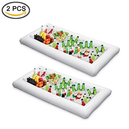 ShineMe 2Pcs aufblasbarer Kühler Ice Servierplatte/Salat Bar Tablett Food/Drink Halterung Obst Teller Küche Mülleimer für Sommer Pool Party Buffet/Tisch/Wasser BBQ/Picknick