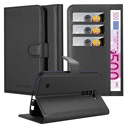 Cadorabo Hülle für LG K10 2016 in Phantom SCHWARZ - Handyhülle mit Magnetverschluss, Standfunktion & Kartenfach - Hülle Cover Schutzhülle Etui Tasche Book Klapp Style