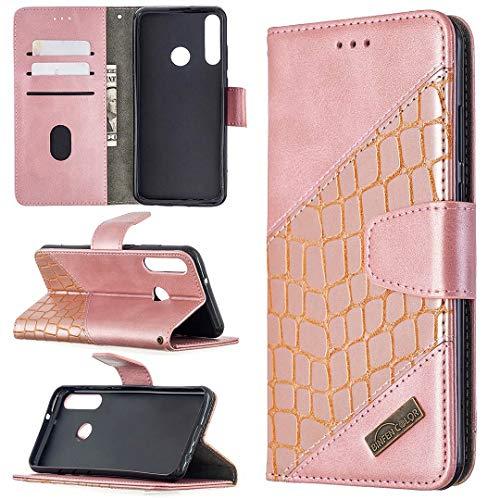 Miagon Huawei Y6P Stoßfest Brieftasche Hülle Cover,Krokodil Spleißen PU Lederhülle Ständer Kartenfächer Magnetverschluss Silikon Handytasche,Roségold