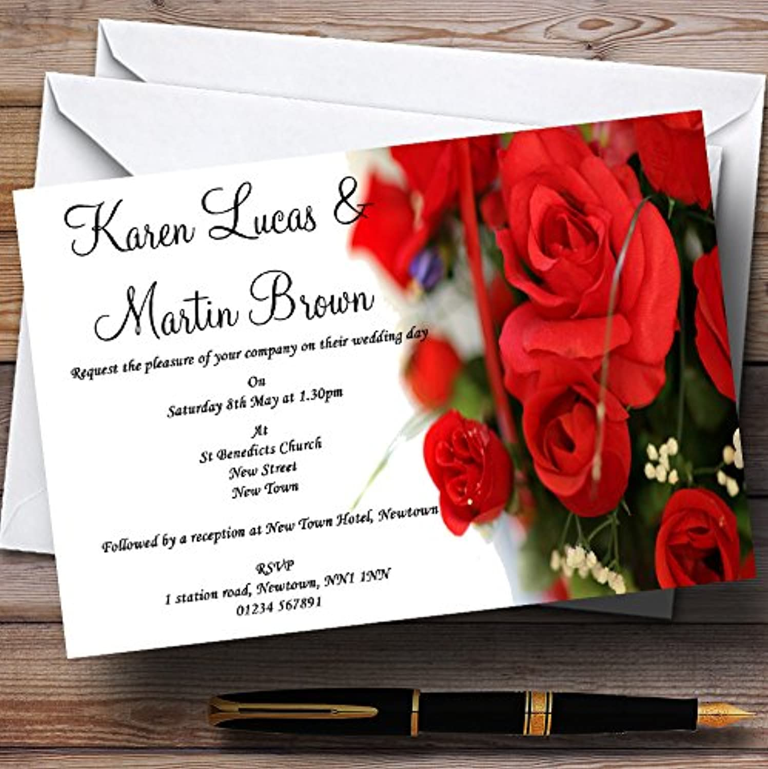 Romantic Red pinks Personalised Evening Reception Invitations   Invites & Envelopes
