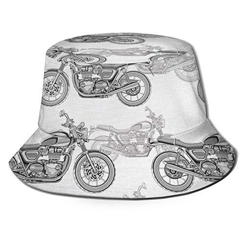 GAHAHA Fischerhut für Herren, coole Motorradkappe, Wandermütze, atmungsaktiv, UV-Schutz, Unisex, faltbar, Sommerhut