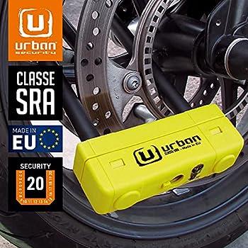 URBAN SECURITY UR85250Y Antivol Moto Homologué SRA U, Double verrouillage ø18 mm, 85 X 250, Made in EU, 85x250 Standard