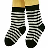 Shimasocks Kinder Socken Vollplüsch Ringel, Farben alle:schwarz/rohweiß, Größe:31/34 bzw. 122/128