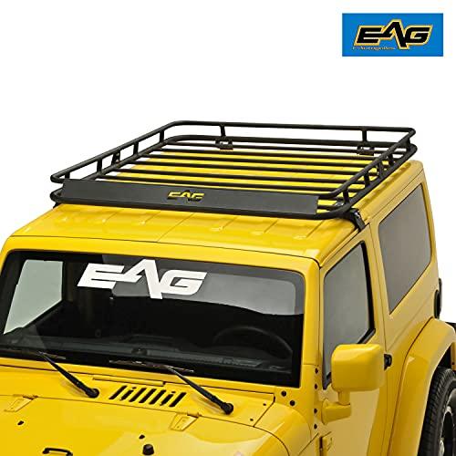EAG 2/4 Door Roof Rack Cargo Basket with Wind Deflector 2 PCS Fits for 07-18 Wrangler JK