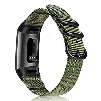 Fintie Bands Compatible with Fitbit Charge 4 / Fitbit Charge 3, Soft Woven Nylon Sports Band Replacement Strap Compatible with Fitbit Charge 3 and Charge 3 SE Fitness Activity Tracker, Olive