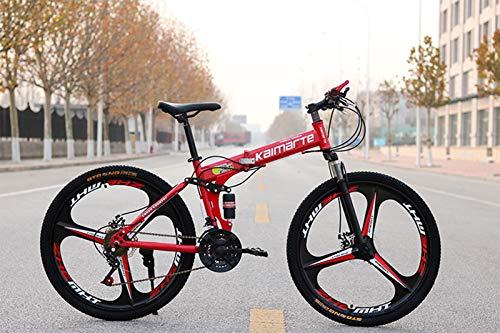 HHRen Rad-Durchmesser (61 / 66cm) Folding Mountain Bike City Comfort 21-Gangschaltung Doppel Stoßdämpfer Scheibenbremse Integrated Rad Fahrrad,Rot,61cm