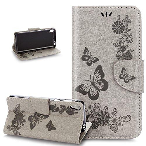 Cover Sony Xperia E5,Custodia Sony Xperia E5,ikasus rilievo farfalla fiori fiore viticcio modello Flip Cover Portafoglio PU Pelle Protective Wallet Stand Custodia Cover per Sony Xperia E5,grigio