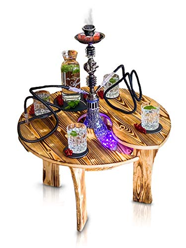 Premium Shisha Tisch mit Loch   mit Kippschutz passend für Jede Wasserpfeife Beistelltisch Schieferplatten Zubehör Getränke Snacks   Schlauch Ablage Kohle Tabak   Couchtisch   Holz Orient Hoohka Bar