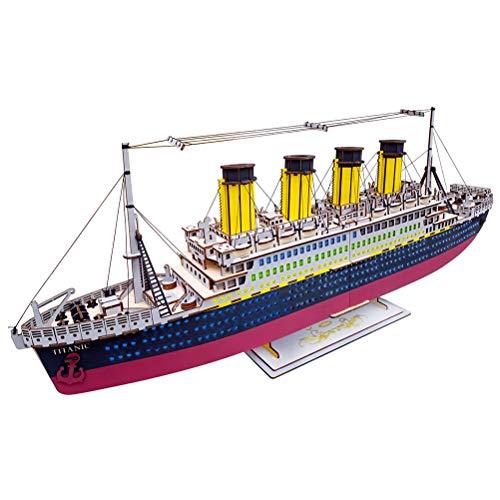 SUPVOX 3D Rompecabezas de Madera Titanic Modelo Juguetes educativos Regalos de cumpleaños para Adultos y niños