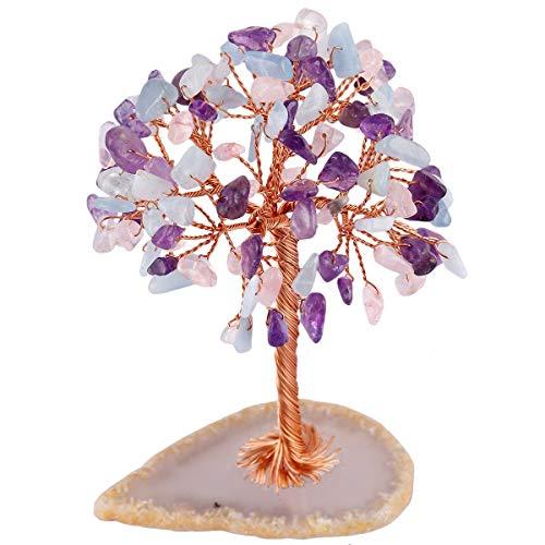 Mookaitedecor amatista / cuarzo rosa/acuamarina árbol de la vida decorado con piedras y cristales y base en trama de ágata geodio natural curativo decorativo