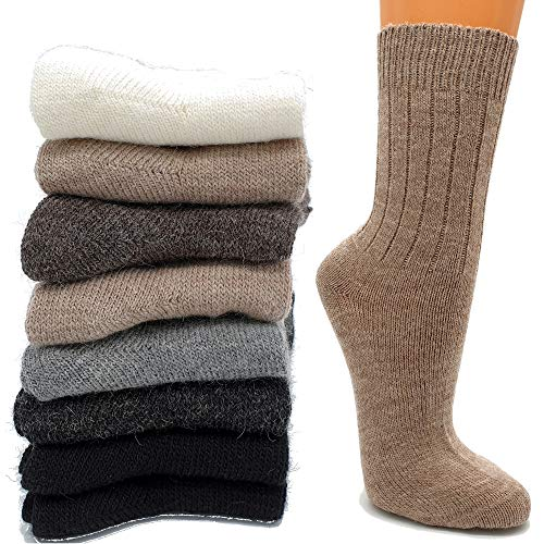 ALZSTEG-ALPAKAS Socken Alpakawolle fein gestrickt (Beige und Dunkelbraun, 39-42)