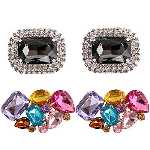 kilofly 2 Pairs Elegant Rhinestone Crystal Metal Shoe Clips Wedding Party Pack, 1.6 inch, Multicolored