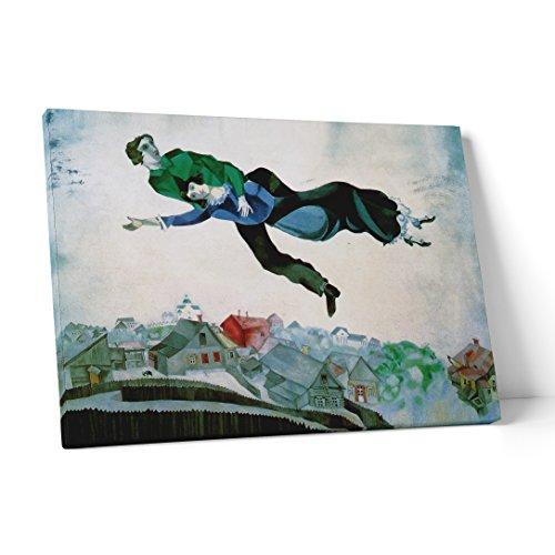 LaMAGLIERIA FINE Art - Marc Chagall Over The Town - Leinwanddruck Leinwand Bild zum aufhängen - 2 cm starker Rahmen, 20cmx30cm