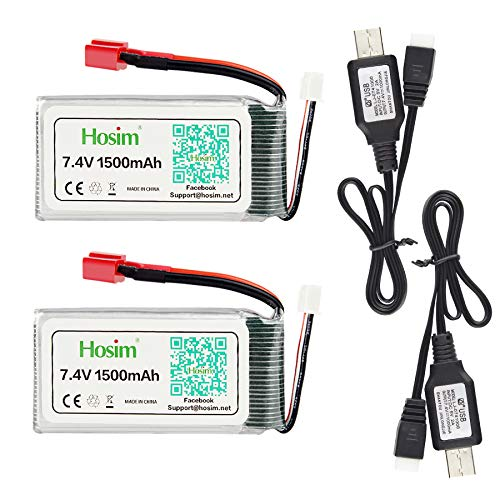 Hosim 2pcs 7.4V 1500mAh 15C T Connector Li-Polymer Rechargeable Battery Pack and 2pcs USB Charger, Safe & Fast Charging, Best for RC Evader BX Car RC Truck RC Truggy RC Airplane UAV Drone FPV