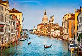 Leyiyi 7x5ft Photography Backdrop Venice Scenic Background Grand Canal Watercity Italy Famous City Vintage Building Boat Floating Basilica di Santa Maria Della Salute Photo Portrait Vinyl Studio Prop