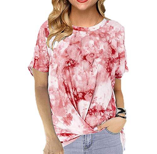 Dames T-shirt met ronde hals Losse tie-dye bedrukt gedraaide meisjes T-shirt met korte mouwen