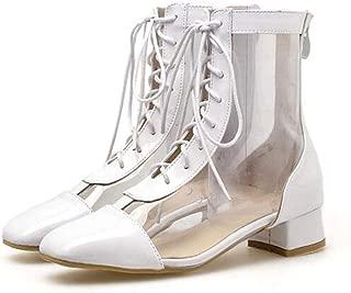 MEIGUIshop Rain Boots - Summer Transparent Sandals high Heels Boots Ankle Boots