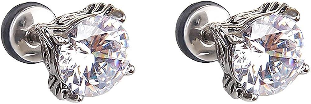 Round CZ Diamond Stud Earrings for Women Girls Stainless Steel 18G Post Pin Cubic Zirconia Hypoallergenic Crystal Studs Screw Back Earring Glitter Jewelry Gift for Mom Girlfriend