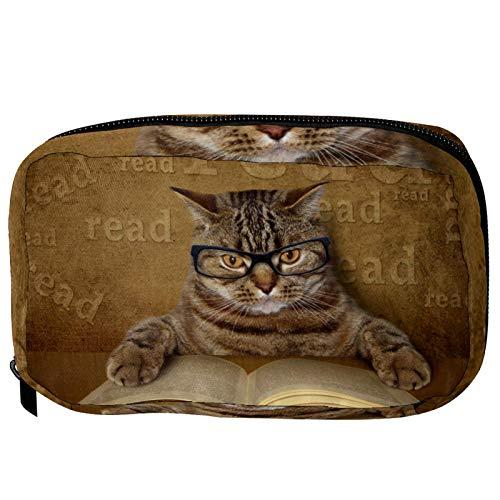 Neceser de Maquillaje Estuche Escolar para Cosméticos Bolsa de Aseo Grande Gato Leyendo un Libro con Gafas (2)