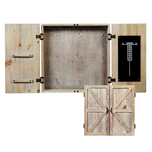American Legend Barnwood Dartboard Cabinet with Wheat Finished Barn Style Doors - Dartboard Not Included, tan