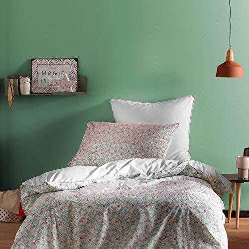 BLANC CERISE Parure de lit Enfant imprimée 100% Coton - Housse de Couette + Taie d'oreiller Vert et Corail Capucine