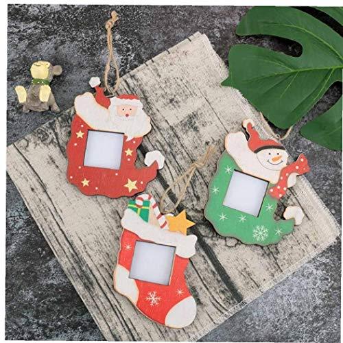 Beito Marco de Fotos de Navidad Colgantes Árbol de Madera, Adornos decoración de Vacaciones de Navidad de la Foto...