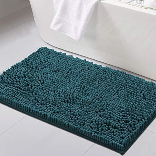Tappetini da bagno per il bagno Tappetino da bagno in ciniglia di lusso antiscivolo 61 cm x 91 cm Tappeti a pelo lungo extra morbidi e assorbenti Lavabili ad asciugatura rapida, verde acqua scuro