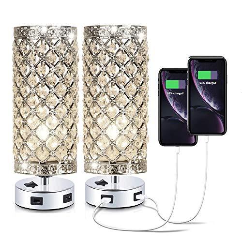 Confezione da 2 lampade da tavolo in cristallo argentato con 2 porte USB per camera da letto, soggiorno, camera da letto o come regalo di nozze