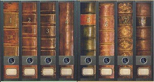 8 Ordnerrücken Bücher 1 -8 Lexikon Ordner Ordneraufkleber Aufkleber Deko