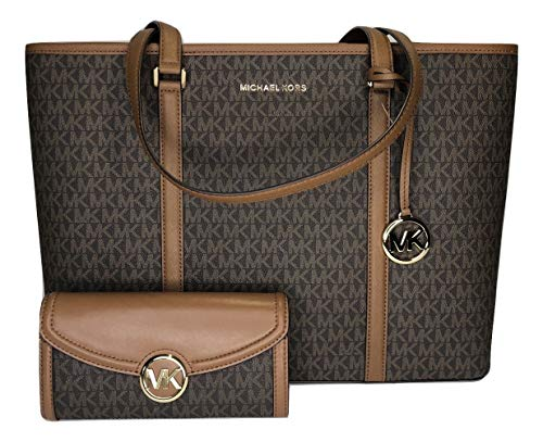 MICHAEL Michael Kors Sady Large MF TZ Tote bundled with Michael Kors Fulton Flap Continental Wallet (Signature MK Brown/Acorn)