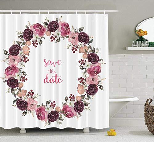EdCott Guirnalda Floral Acuarela con Rosa Beige Burdeos Floral y decoración de patrón de Tela decoración de la habitación hogar fácil de Limpiar Cortina de Ducha para baño Cortina de baño Burdeos