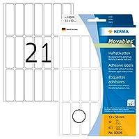 HERMA 10606多目的ラベル13 x 50 mm白移動可能/取り外し可能な紙マット672個。