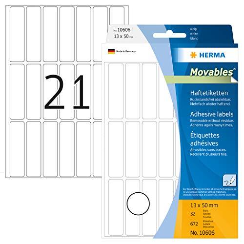 HERMA 10606 Vielzweck-Etiketten ablösbar (13 x 50 mm, 32 Blatt, Papier, matt) selbstklebend, Haushaltsetiketten zur Handbeschriftung, 672 Haftetiketten, weiß