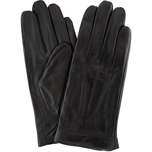 Damen-Handschuh aus weichem Leder, Lila, mit Kreuzstich-Design und warmem Fleece-Futter–Größe M (17,8cm) Gr. xl, schwarz