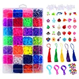 Glonova 11800+ Rubber Bands Bracelet Kit Rainbow Loom Bands Kit for Kids Bracelet Making Kit, 11050 Rubber Bands, 3 Backpack Hooks, 30 Charms, 235 Beads, 550 Clips, 5 Tassel, Organizer