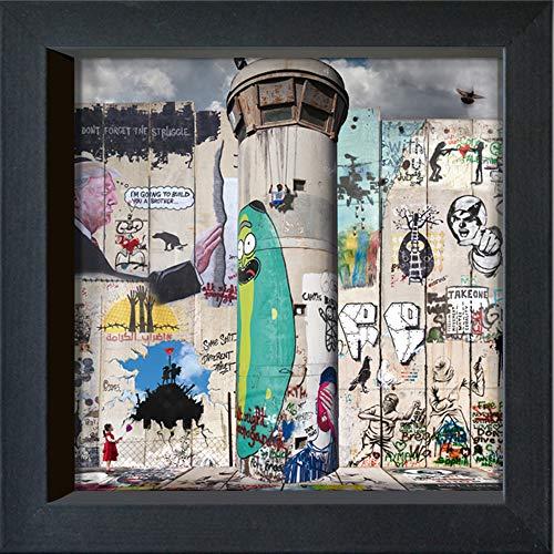 Internationellt grafiskt inramat vykort – MA?LO/M-L lager – 1 Terre 2 betalningar: do not give up – 16 x 16 cm – svart ram