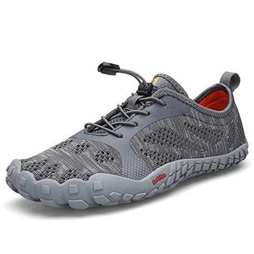 Chaussures De Trail Running Homme,Minimalistes De Fitness Sport Outdoor & Indoor Gym Fitness Randonnée Escalade Marche Barefoot Shoes Aquatiques Noir Gris Bleu Grande Taille 39-46,Gray,41